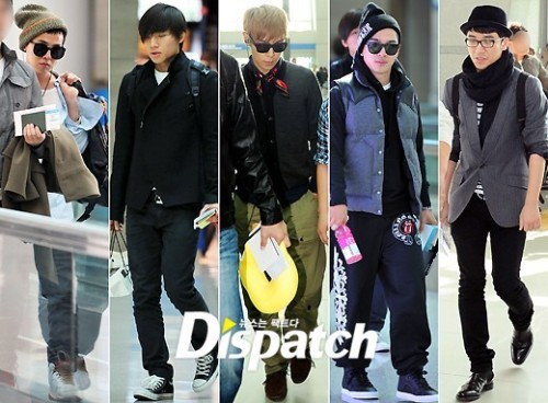 just-a-vip-feeling:  BIGBANG @ Airport !!!! OMG This is Bigbang as 5 !!!!!!!! So happy T_T