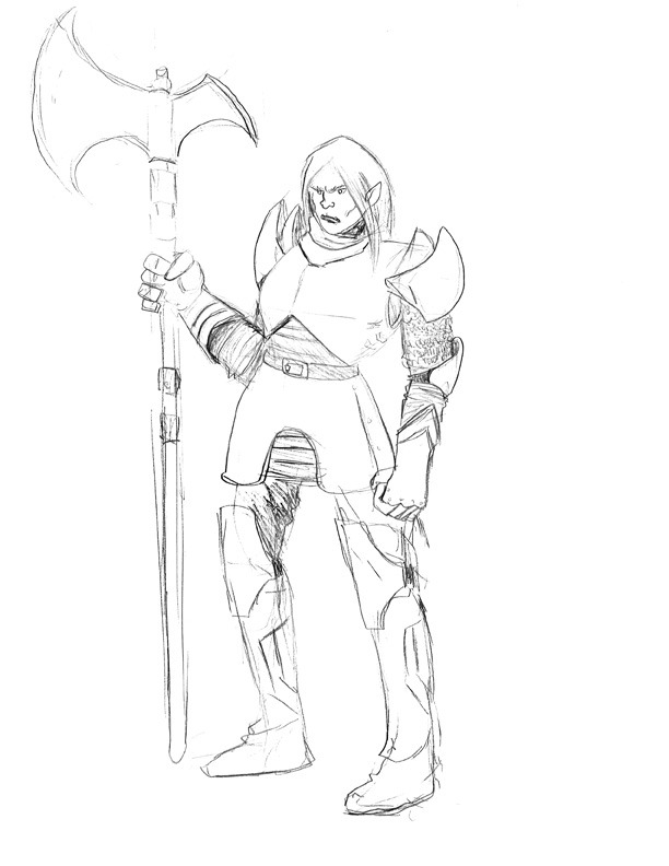 Another character for an upcoming Pathfinder game- female orc paladin.  NOt sure what her name will be yet.