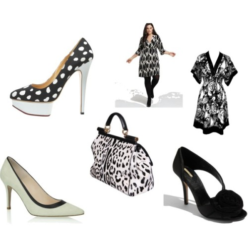 CurvyGirlStyle! It's All Just Black & White! by patty-hughes featuring a kimono dress