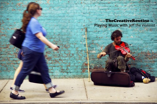 TheCreativeRoutine is Playing Music with Jeff the Violinist I recently had what is at once one of the strangest and most exciting experiences I've had in recent memory. My good friend, and sometimes creative partner, Taylor Raboin and I were recently in downtown Nashville, tentatively talking through and planning an upcoming project we're working on. Fate would have it that we would spot a certain, peculiar fellow walking around downtown with a wooden staff that resembled the one Moses most have used to part the Red Sea, along with a backpack that looked large and sturdy enough to carry supplies for half a season of Man v. Wild. Naturally we struck up conversation with him, not breaking pace as we walked alongside to wherever he was headed. I noticed a violin case in his collection of supplies, and before anyone really knew what was happening, he was sitting in front of a mood-setting sea green wall playing his bright red violin, as I snapped glorious images to the amazement of pedestrian on-lookers. Sometimes you instantly realize that you're documenting content unlike anything you normally do or will likely do in the future. Everything just clicked. It was beautiful. Jeffrey serenaded us with some of the most surreal bluegrass and mountain music my ears had ever witnessed, as music and conversation wove into one another.  upon meeting jeff; with taylor  Jeff is one of those individuals you don't really believe is real unless you meet him yourself. He's a musical vagabond, a fellow who wonders from state to state playing music with local friends in between doing seasonal farming at marijuana farms in both Wisconsin and California. Yes, he's been to 44 states. And yes he's homeless. But he's told me he prefers the term home-free. He owns virtually no possessions aside from the ones he carries on his person at all times. Yet despite his untraditional lifestyle, he seems to be one of the most stable individuals I've ever met. I used to joke all the time when I was a kid that I wanted to be homeless when I grew up. Yet the more he spoke to Taylor and I, the more I started to wonder if he'd figured out something the rest of us hadn't.  jeff serenading an entire block  After playing beautiful music for the entertainment of an entire city block, we took the only logical next step: cabbing with Jeff back to campus to find more buffoonery to engage in. Although there is no photo documentation of the rest of the day's event's, you can only imagine the number of eyes that stared when we strolled into one of the dining halls alongside our new wooden staff toting, mountain man friend. Two days later we invited Jeff back to campus for another proper jam session, this time playing alongside a cellist friend of ours in the music school. Enter Alex Krew   master cello commander, alex krew Alex is trained in classical cello; Jeff does mainly bluegrass and folksy music. Seeing the two of them jam together was an otherworldly musical fusion that probably shouldn't have been legal. Much like a few days prior, every so often different spectators would pit stop at our musical jam fusion to pay their respects to the brilliance that was taking place before their eyes. There was even an important looking photographer who worked for a still unknown publication that stopped for like 15 minutes to spectate and take photos in a very important looking way. Alex and Jeff joining forces was a meeting of the minds; it truly was a musical event. They seamlessly rotated between playing different classical and non-classical pieces, all while talking music, and exchanging notes.    The next day Jeff was gone. Off to North Carolina to play a gig I believe. Where he is now, I don't know. Perhaps he's upped his state counter to 45 by this time. What an interesting individual. I wonder how often he has experiences like this, and how many friends and musical compatriots he has all over the country. It's amazing to see someone who literally seized his own destiny and did as he saw fit. He dropped out of school, against everyone's advice, moved to New York City, then proceeded to get a gig smoking and harvesting weed for a living, while playing music all over the country and seeing more states than you could recite from memory. Just another example that there's no one pathway to anything. If you're passionate and confident, the only thing keeping you from seeing if you can fulfill your dreams is you. Of course, no one is guaranteed success. But how crippling is life if you're not willing to take the risk?