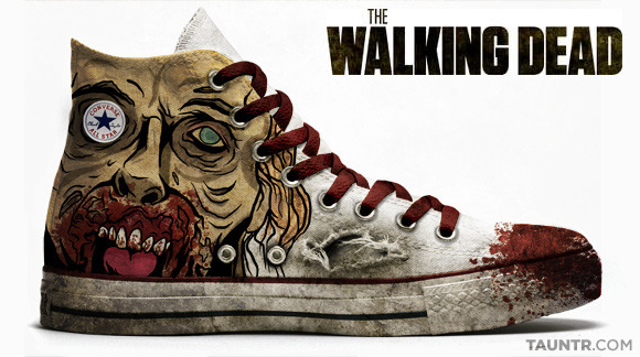 The walking dead converse (via Pop Culture Chuck Taylor Allstars | TAUNTR.COM)