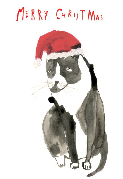 Grumpy Cat Christmas card and soon to be hanging paper christmas garland, maybe.