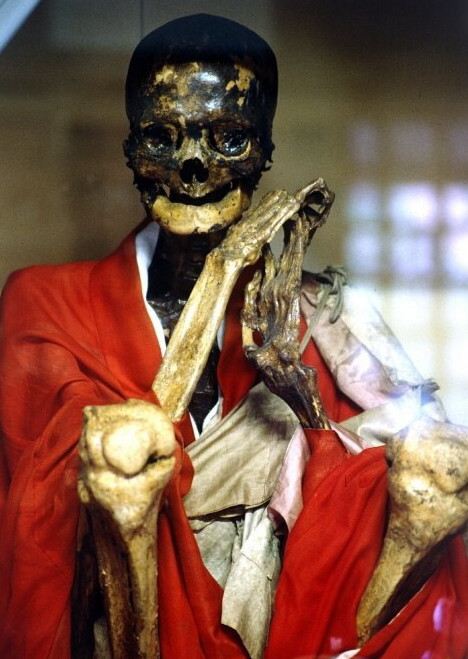 "madfuture:  Arisada Hōin, 300-yr-old ""living mummy"" at Kanshūji temple (Fukushima)To become a living mummy, monks had to undergo a long and grueling three-step process.  Step 1: For 1,000 days, the monks would eat a special diet of nuts and seeds, and engage in rigorous physical training to strip the body of fat.  Step 2: For another 1,000 days, they would eat only bark and roots in gradually diminishing amounts. Toward the end, they would start drinking tea made from the sap of the urushi tree, a poisonous substance normally used to make Japanese lacquer bowls, which caused further loss of bodily fluid. The tea was brewed with water from a sacred spring at Mt. Yudono, which is now known to contain a high level of arsenic. The concoction created a germ-free environment within the body and helped preserve whatever meat was left on the bone.  Step 3: Finally, the monks would retreat to a cramped underground chamber connected to the surface by a tiny bamboo air pipe. There, they would meditate until dying, at which point they were sealed in their tomb. After 1,000 days, they were dug up and cleaned. If the body remained well-preserved, the monk was deemed a living mummy.Unfortunately, most who attempted self-mummification were unsuccessful, but the few who succeeded achieved Buddha status and were enshrined at temples. As many as two dozen of these living mummies are in the care of temples in northern Honshu.The Japanese government outlawed the practice of self-mummification in the late 19th century."