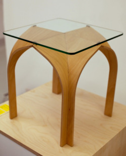 Designer: Nobu MiakeProduct name: CATHEDRAL Product type: sofa table Size: w.400 x d.400 x h.400Material: Beech & Glass