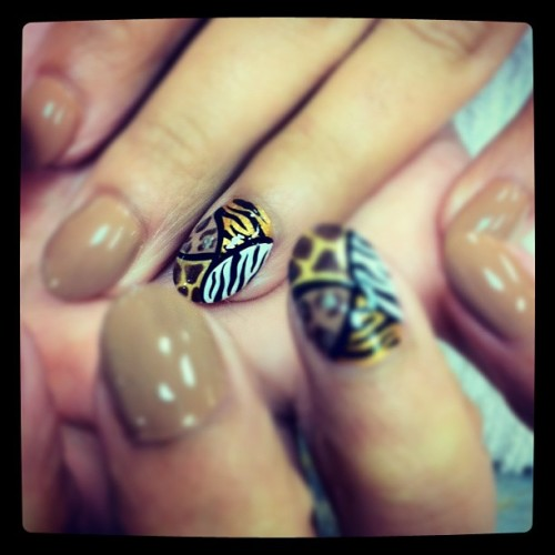 #nails #nailart #cheetah #zebra #giraffe #brown #gold #pretty #dope #instagram #iphone #classy #designs #nailtweet @classyKelly beautiful nails thx  (Taken with instagram)