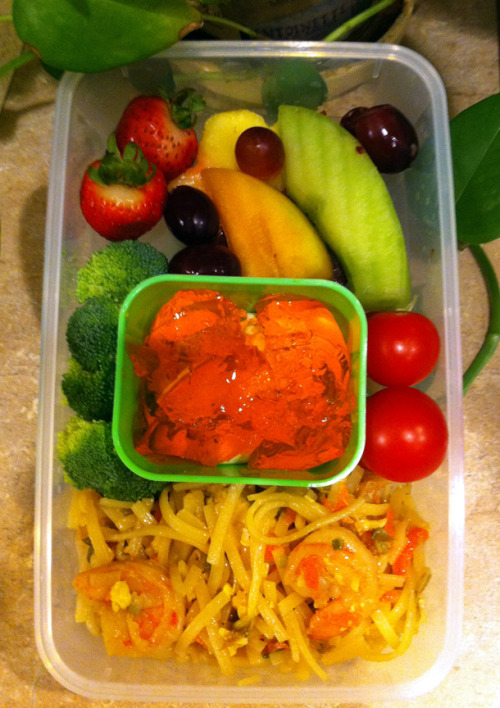 Bento Day 51 A happy leftovers bento. Pad Thai, fruit, veggies and jello.