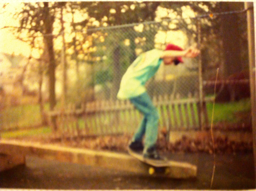 Me skateboarding in my old backyard circa 1990.    The kit:   -Maroon new deal SnapBack -Baby blue bob marley tee… I sent away for with an insert from inside the bob marley legend cassette tape -Levi jeans? -air walk sneakers!  Pyro's? -new deal Justin girard pinball wizard deck…. I traded a Powell lance Conklin deck for it.  Venture feather light trucks.  New deal nude eels wheels.  Photo by Chris Giunta.  I'm pretty sure we used crayons and ivory soap to wax that railroad tie.