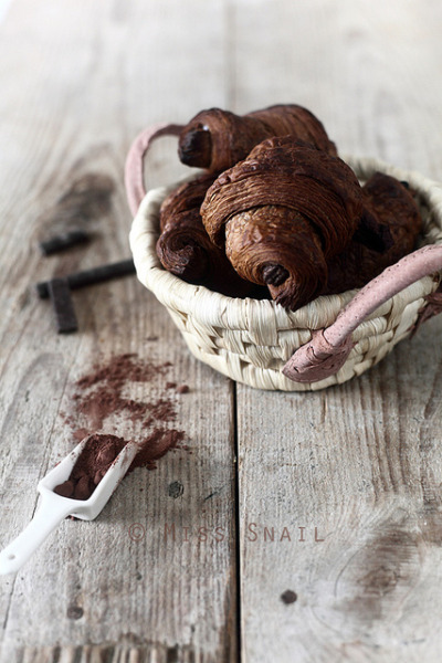 annaharo:  Pain au chocolat in basket by Vivian An on Flickr. Chocolate croissants