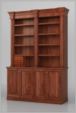 A design for a traditional bookcase, with two bookshelf sections over a cabinet. To purchase or customize this bookcase, please visit our website: Traditional Bookcase Design