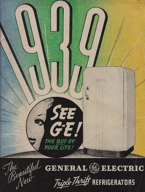thepieshops:  The Beautful New Triple Thrift Refrigerators for 1939 on Flickr. The buy of your life! Designed for instant eye appeal  Styled for instant beauty!