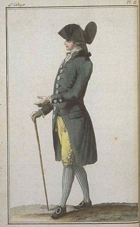 Magasin des Modes, January 1786.  Look at the size of those buckles and buttons!