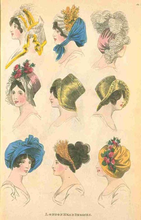 Fashions of London and Paris, London Head Dresses, June 1805.  These are all fabulous, but I particularly like the straw bonnets with the Greek key design on them, and the girl with the simple wheat bandeau!