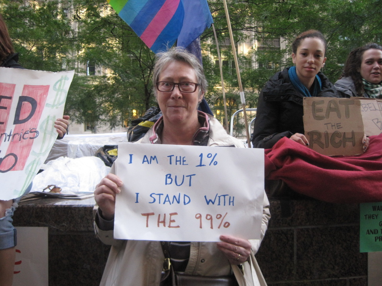 I am the 99%: I AM THE 1%, BUT I STAND WITH THE 99%, NYC LIBERTY PARK