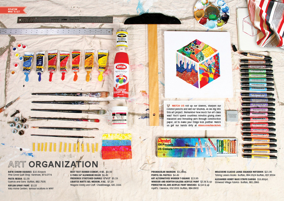 """Art Organization"" spread in Fall 2011 Art & Design Issue of Block Club Magazine, a hyperlocal lifestyle magazine in Buffalo, NY."