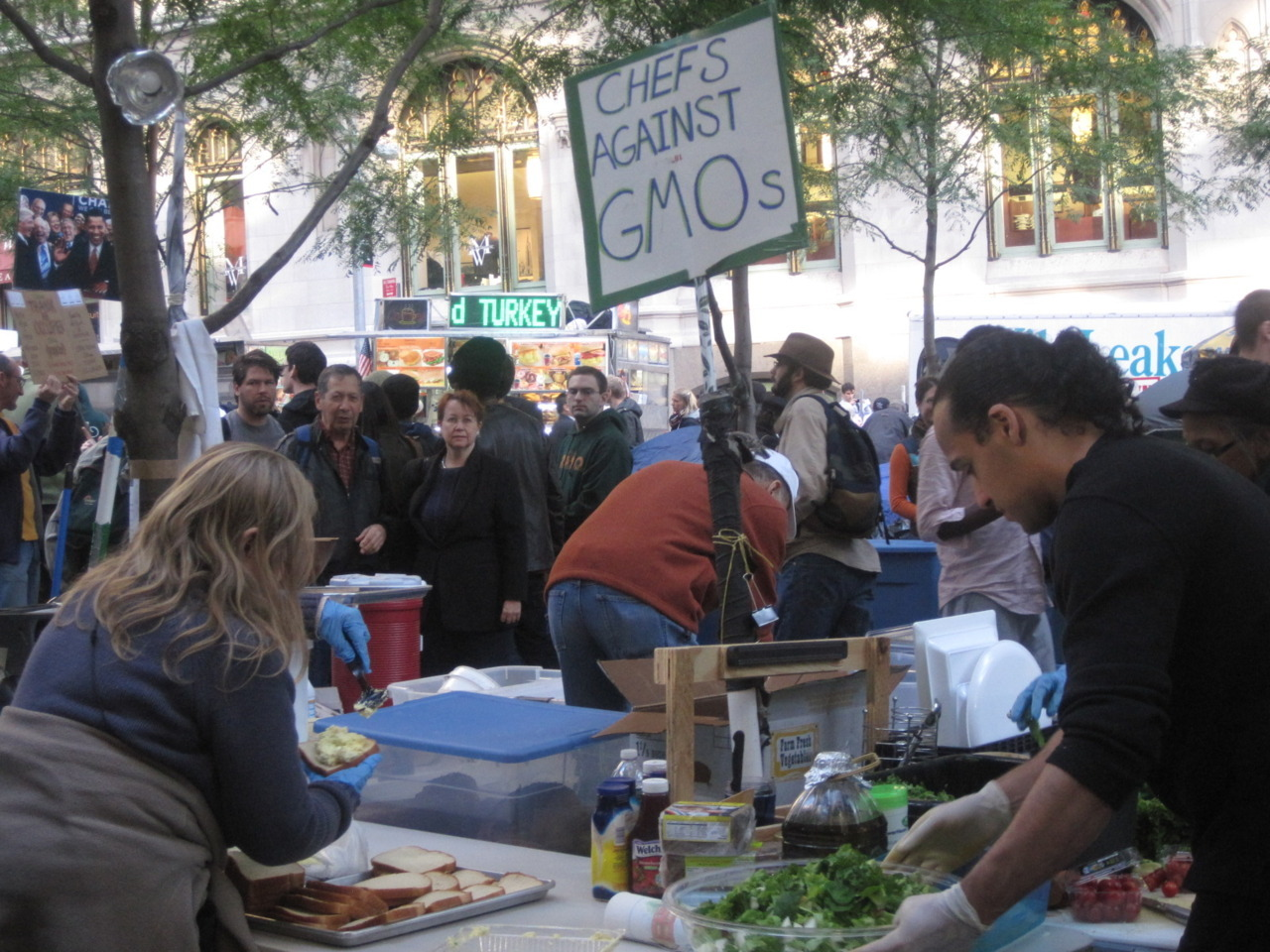 I am the 99%: CHEFS AGAINST GMOS. Kitchen at OWS NYC LIBERTY PARK