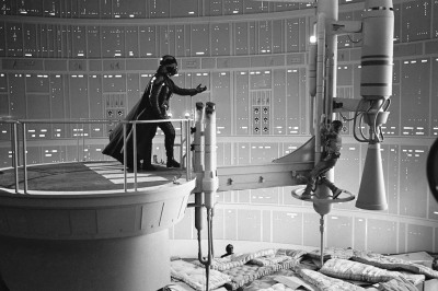 Empire Strikes Back - When Darth Vader (David Prowse) revealed his secret to Luke, Hamill was hanging onto a pinnacle above mattresses placed on cardboard boxes about 30 feet off the ground. (via jaymug)
