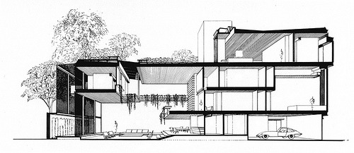 Hirsch Residence - Building Section - Original Presentation Drawing (by kelviin)