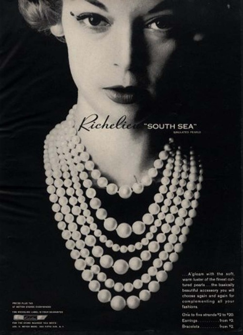 hollyhocksandtulips:  Jean Patchett for Richelieu pearls, 1947