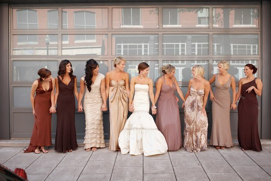 I have always said that your bridesmaids are realistically different sizes and shapes.  Some may be small and petite and other may be curvy or tall.  A dress that may look great on one, may not look great on another. In the picture above, the bride did an amazing job of staying withing her color story and letting each bridesmaid be her own person and still look fabulous and feel comfortable. Photography: Todd Pellowe