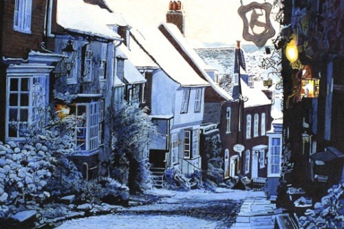 glorious-britain:  A wintery picture of Mermaid Street in Rye, Sussex.  Mermaid Street is one of the most amazingly preserved medieval streets in the world, with its quirky houses and cobblestones!  Enchanting…