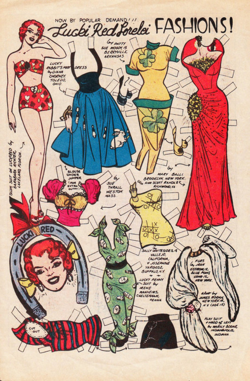 Katy Keene's friend Lucki Red Lorelei paperdoll 1957