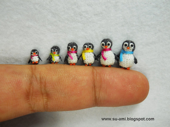 conflictingheart:  mini penguins from etsy  How can this be possible? Amazing craft work.