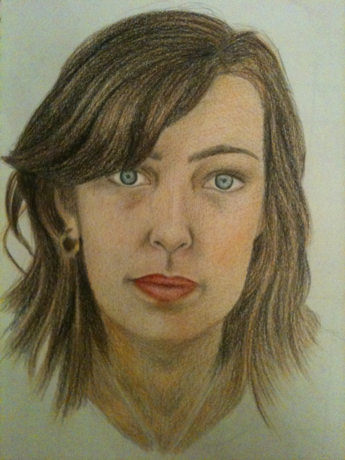 A portrait I drew, of my friend Michaela, in colouring pencils.