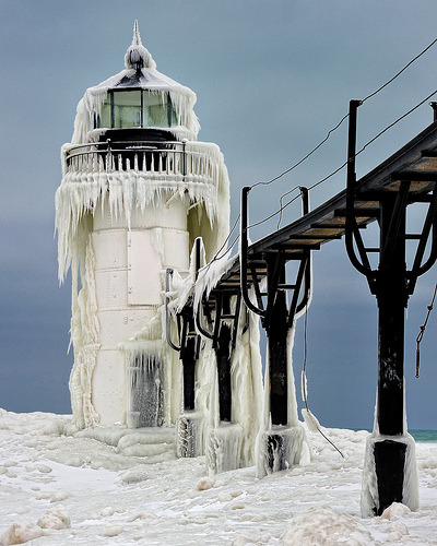"""Frozen Light"" St. Joseph Northpier Lighthouse, St. Joseph, Michigan (by Michigan Nut)"