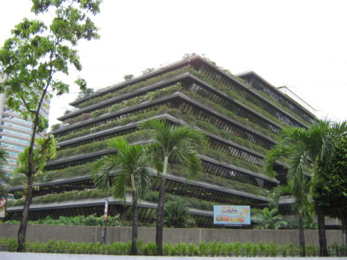 urbangreens:  tugot submitted:  This San Miguel Building in Ortigas Center, Pasig City, Philippines was conceptualized by National Artist Arch. Bobby Manosa.   Photo by fraginal