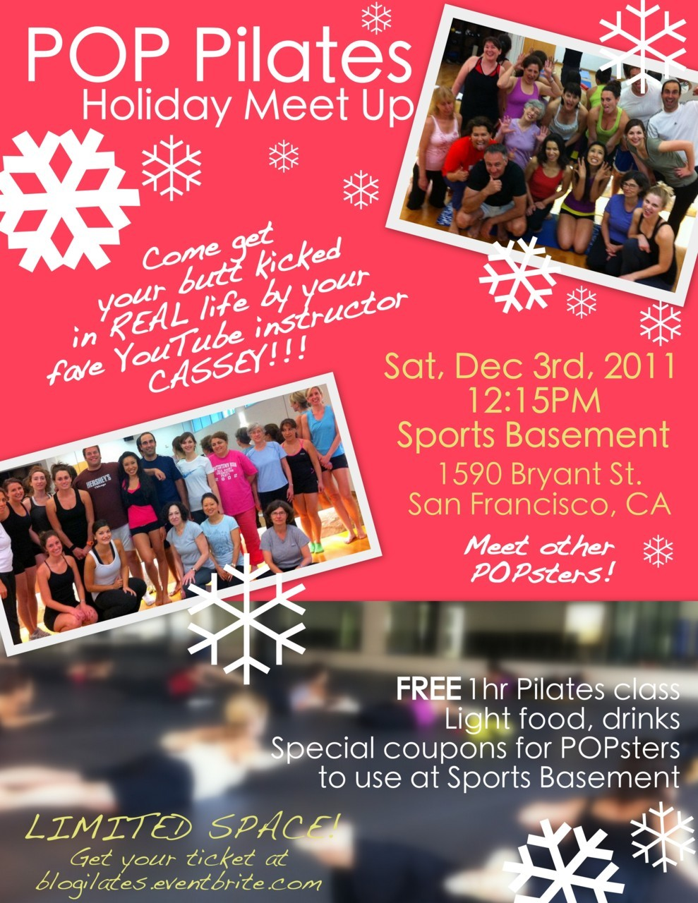 RSVP for the POP Pilates Meetup on Dec 3 today! Space is limited. So only request a ticket if you really plan on coming. Can't wait to meet you guys! Will also be live streaming the event for POPsters all over the world! Maybe we can have some of our ambassadors on a live panel? Hahahaha!!! Make sure you wear your MuffinTop shirts so it's like we're a secret pop army in uniform… RSVP here Who's coming!!??