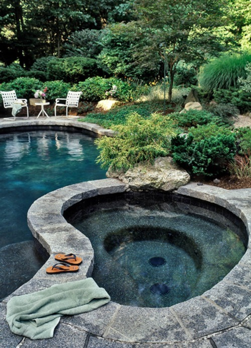 "Luxurious ""natural rock"" backyard hot tub and pool (via My Paradissi: Dreaming of..)"