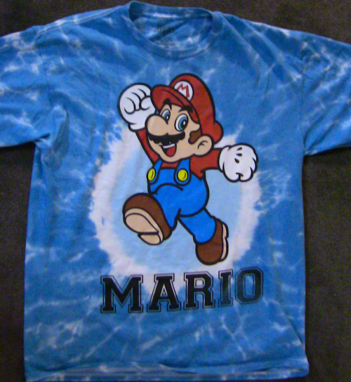 "Yeah, not a very clever or original shirt this time. Just good ol' Mario. I got it at Kohl's for 10 bucks because seriously who can pass up a tie die shirt for that price? I mean it's really tie-died, not just a design that looks tie-died. I'm just a ""t-shirt enthusiast who loves deals"" at heart, I guess."