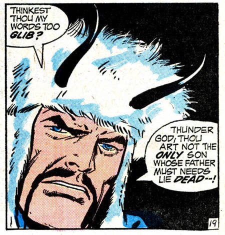 (via Bully Says: Comics Oughta Be Fun!)  Panel from Thor #198 (April 1972), script by Gerry Conway, pencils by John Buscema, inks by Vince Colletta, letters by John Costanza