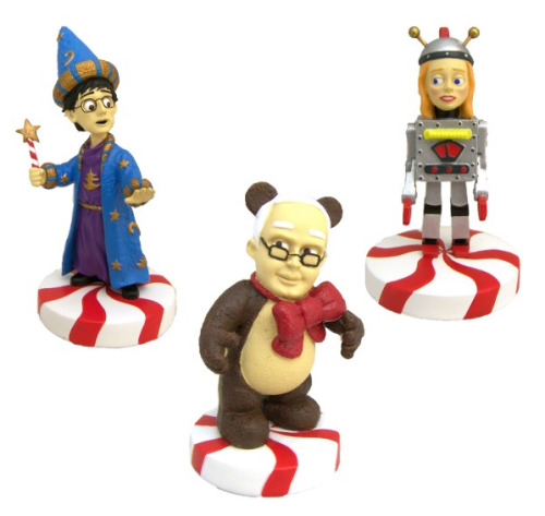 "popcultureguy:  Community Holiday Figurines are going to be sold at the NBC Store! Set 1 features Duncan, Pierce, and Britta from the Community episode, ""Abed's Uncontrollable Christmas"".  i really want to buy these for someone and for that person to give them to me."