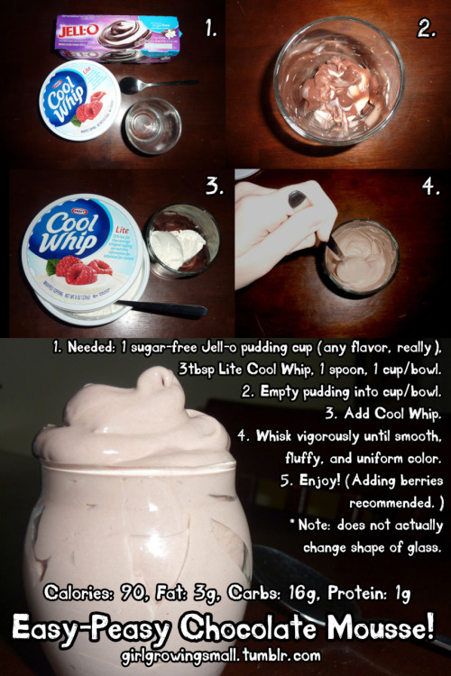 girlgrowingsmall:  Easy-Peasy Chocolate Mousse! My grandmother (the one from the photos) taught me this very tasty, and surprisingly healthy, chocolate mousse recipe back when I was a little kid. It's super simple and quick to make when a typical prepackaged dessert won't cut it. It also makes a great filling for pies! I definitely recommend adding some raspberries to this after making it, but I was out of raspberries today. If you want your mousse lighter and fluffier, add a bit more Cool Whip. And you can always make a big batch and save some for later!