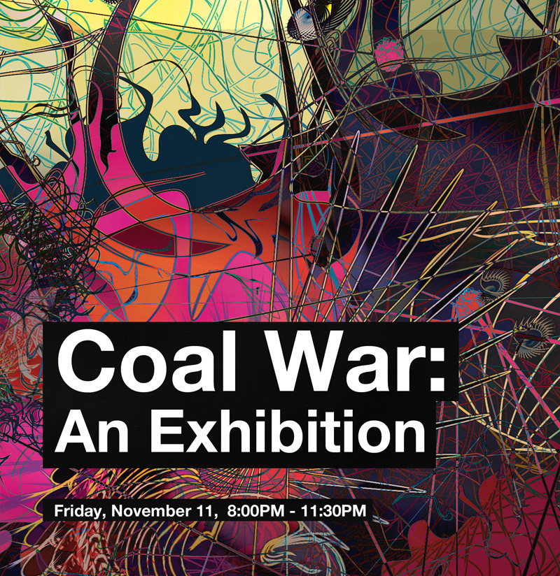 "Join us Friday, November 11,  6:00PM - 11:30PM for the opening of ""Coal War"" and come early for a screening of ""Vanishing of the Bees"" at 4:00PM hosted by Anneke Penn of Mrs. Mango & Company, as we kick off The Green Screen series.  Brick & Mortar presents ""Coal War"" An Exhibition, where digital art dialogues with alternative energy. The evening will feature a special presentation by Kentucky artist Andrew Moore, live music from Damion Suomi, Zac Sullivan and Jason Mayes, and plenty of beverages and refreshments.   The exhibition will run thru Dec. 3, 2011. Brick & Mortar is located at 643 Brevard Avenue in Historic Cocoa Village."