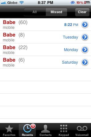Adik, for a day 60 miscalls from Babe. =))