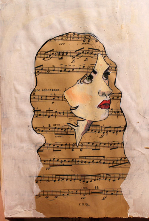 eatsleepdraw: (sheet music, acrylic, pen)