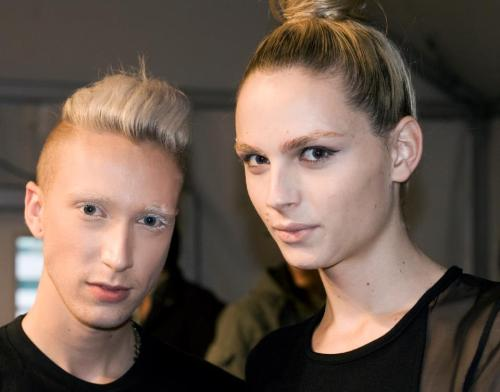 Andrej Pejic and Myles Sexton. Sid Neigum - Toronto Fashion Week SS 2012.Myles Sexton FB