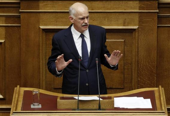 euralmanac:  Athens, Greece Greek Prime Minister George Papandreou delivers a speech during a debate prior to a vote of confidence in the parliament (via Editor's choice | Reuters.com)