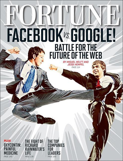 binnielove:  Fortune Magazine Facebook Vs Google Cover. Fortune magazine says its a Battle For The Web between Facebook's Mark Zuckerberg and Google's Larry Page.
