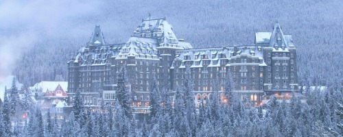 One of the classics from our gallery 'Cozy Nights', shot of the Banff Springs Hotel on a beautiful snow covered evening. Visit www.banffmountainart.com to view our full collection. Photo credit  Lee Simmons - Banff Photography