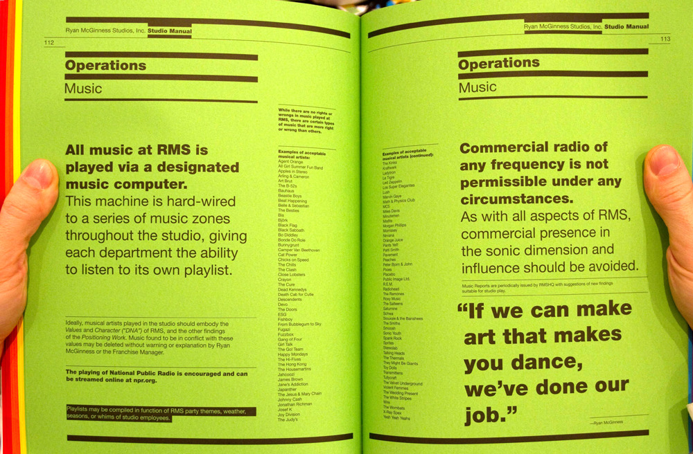 Music from Ryan McGinness' Studio Manual.