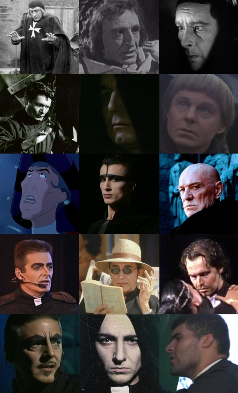 hermelynda:  Many faces of Frollo from 1911 to 2008. (And yes I know, a lot of Frollo are missing…) Claude Garry - 1911 ; Brendan Hurst - 1923 ; Sir Cedric Hardwicke - 1939 ; Alain Cuny - 1956 ; Kenneth Haigh - 1977 ; Sir Derek Jacobi (alias Time Master) - 1982 ; Tony Jay/Disney's Frollo - 1996 ; Laurent Hilaire - 1996 ; Richard Harris - 1997 ; Daniel Lavoie - 1998 ; Richard Berry - 1999 ; unknown dancer - ? ; Vittorio Matteucci - 2002 ; Alexander Marakulin - 2003 ; Christian Gonzalez - 2008.