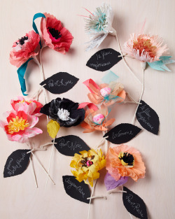 These meticulously and artistically paper flowers were crafted by Thuss+Farrell, a married Brooklyn-based design and photography duo bursting with insane talent. What a fantastic mix of bright colour, pastels, patterned detail and texture. The pops of black make the flowers feel artful and modern rather than simply pretty. I wouldn't mind a vase full of these beautiful examples of papercraft. There are some more here.