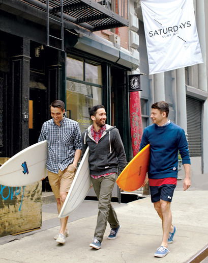 "GQ Endorses: Saturdays NYC From GQ creative director Jim Moore: ""Saturdays NYC  is the coolest store in America right now. This SoHo surf shack was conceived by three not-so-laid-back guys on a mission: to create a space for those living, working, and surfing around the big city. The inventory is dominated by Saturdays-designed favorites like striped surf trunks and small-collar shirts; it's also well churned with the boys' favorite wet suits and surfboards. Get all the Saturdays gear at its Web site, or come visit this one-of-a-kind hut. You'll have your best Saturday yet, no matter what day it is."" More GQ Endorsements here."