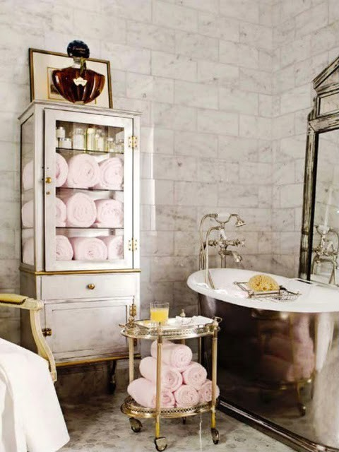 thedecorista:  when light gray meets light pink…LOVE happens  I'm hoping to add a new bathroom next year and this is a great inspiration room.