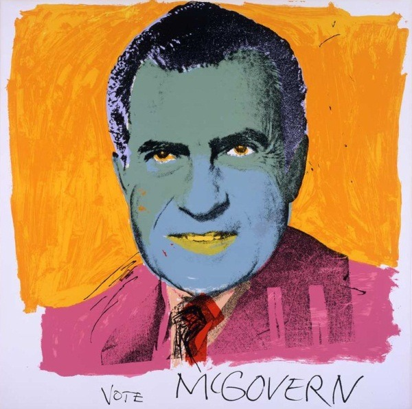"The art: Andy Warhol, Vote McGovern, 1972. The news: ""Political Class Clowns,"" by Timothy Egan for the New York Times. From Egan's essay: ""The clowns have finally taken over the circus, and I mean this with all due respect to those who labor with painted faces and oversized shoes. The party that got itself into a fever over Barack Obama's imaginary Kenyan birth, and briefly elevated Donald Trump, the main purveyor of that invention, to its front ranks, is now overwhelmed by its own nonsense."" The source: Collection of the Museum of Modern Art, New York."