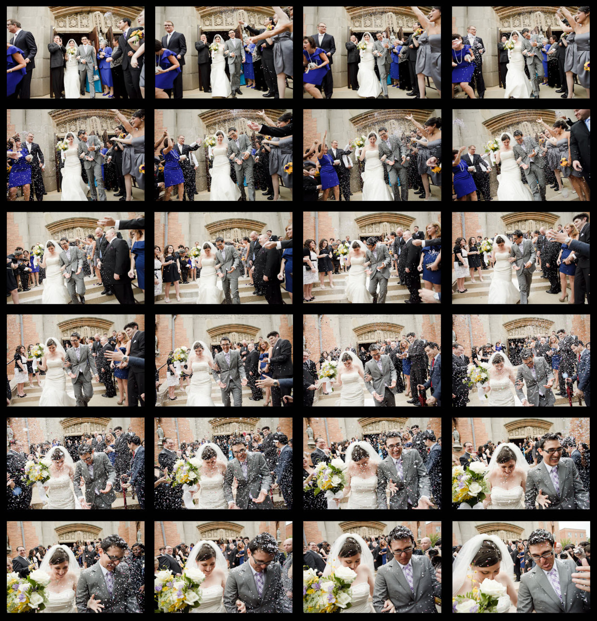 24 exposures as Nicole and Joe leave the church on their wedding day.  I was picking confetti out of my hair for the rest of the day, but it was well worth it.