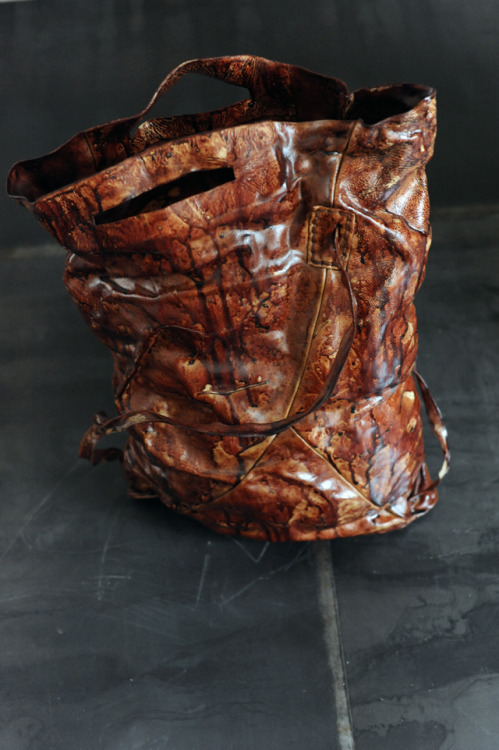 blackparadox:  Blood bag by Boris bidjan Saberi Untanned skin, water, pigs blood Dyed and mouled by hand One made  waking up to THIS…. wait WHAT